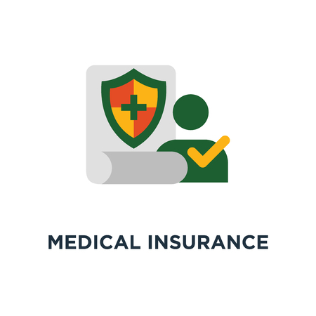 medical insurance icon. health care policy, volunteer enrollment program concept symbol design, shield with cross, hospital services, preventive check up, sick leave certificate vector illustration