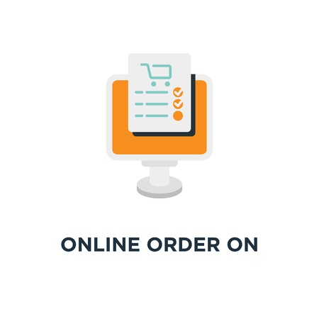online order on white icon. online order on white concept symbol design, vector illustration Çizim