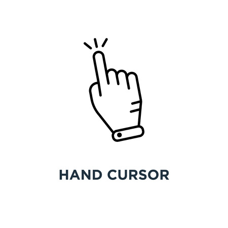 hand cursor icon. clicking pointer concept symbol design, vector illustration Illustration