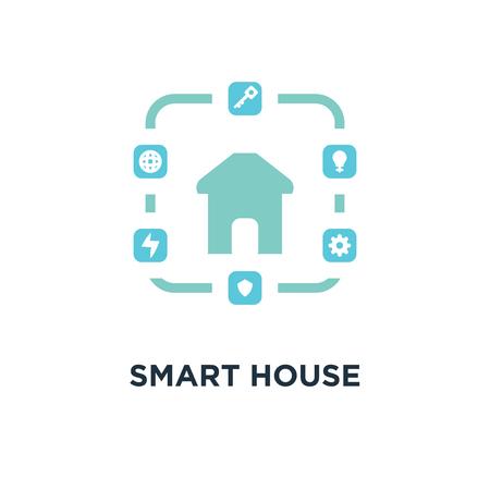 smart house icon. green on white concept symbol design, vector illustration