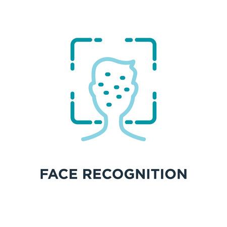 face recognition icon. biometric identification concept symbol design, facial scan line vector illustration Vektorové ilustrace