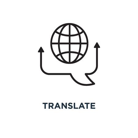 Symbol übersetzen. Übersetzen Sie Konzept Symbol Design, Vektor-Illustration