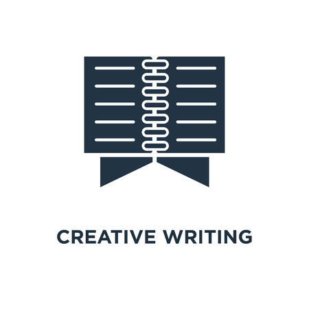 creative writing icon. open book, read brief summary, assignment, thin stroke concept symbol design, storytelling, text book, exam preparation, learn grammar vector illustration