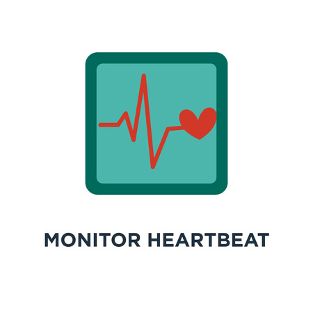 monitor heartbeat icon. red heart with sign heartbeat. . heart sign in flat design concept symbol design, vector illustration