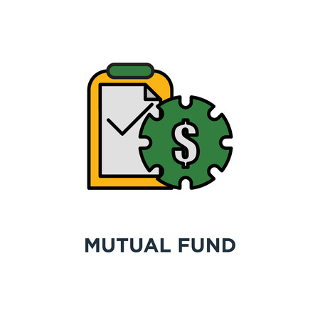mutual fund management icon. long term investment, accountancy service, thin stroke concept symbol design, financial security, finance solution, market analysis, loan approval vector illustration