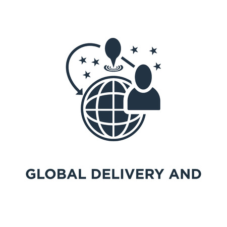global delivery and distribution icon. travel arrangements concept symbol design, international shipment vector illustration