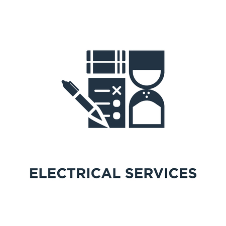 electrical services and supply icon. energy saving concept symbol design, electricity connection graphic elements. lignt bulb and plug fork. design vector illustration
