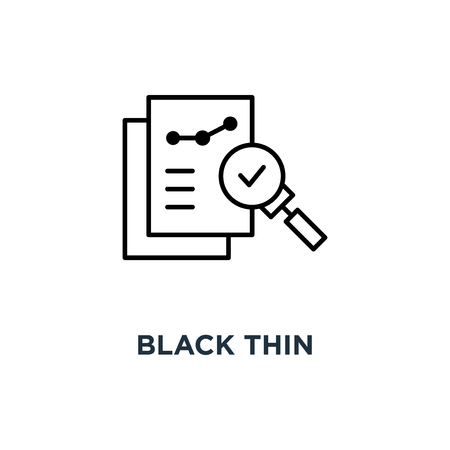 black thin assessment result, of bill icon, symbol invoice or description research and internal feedback, linear regulatory policy logotype graphic stroke art design concept Stock Illustratie