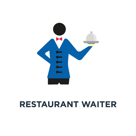restaurant waiter with tray. service icon. catering concept symbol design, vector illustration