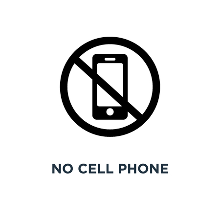 No cell phone icon. Simple element illustration. No cell phone concept symbol design, vector logo illustration. Can be used for web and mobile. Иллюстрация
