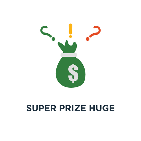 super prize huge bag of cash icon. money sack with dollar, grant offer, large fund concept symbol design, winning grand lottery, casino jackpot, quick loan, easy money vector illustration