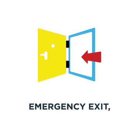 emergency exit, exit door, exit strategy icon. door entrance concept symbol design, vector illustration