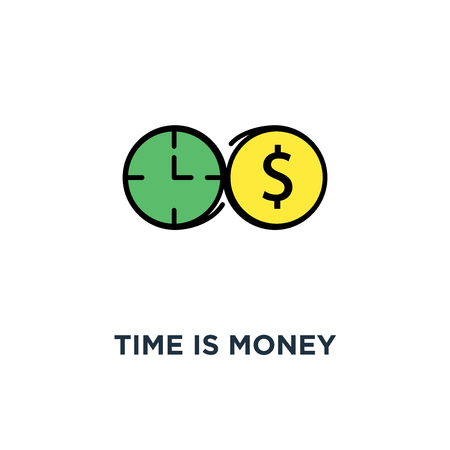 time is money icon, symbol of outline business concept connection of clock (time) and dollar (money) symbols