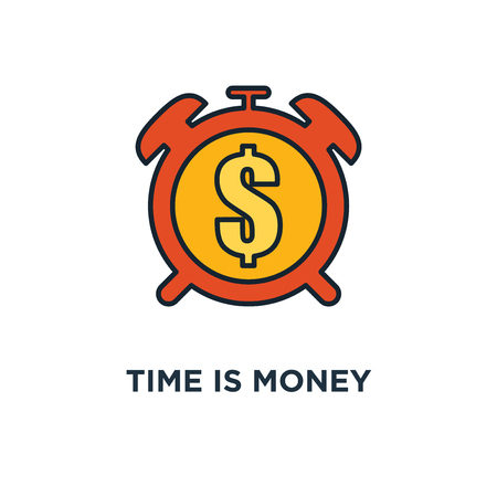 time is money icon. clock and coin, money profit and benefit concept symbol design, long term financial investment, superannuation savings, future income, annual revenue vector illustration