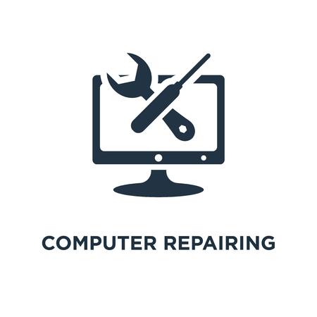 icône de réparation d'ordinateur. il prend en charge et services la conception de symbole de concept, le développement de logiciels, l'administration système, la mise à niveau et la mise à jour du bureau, illustration vectorielle d'installation de programme