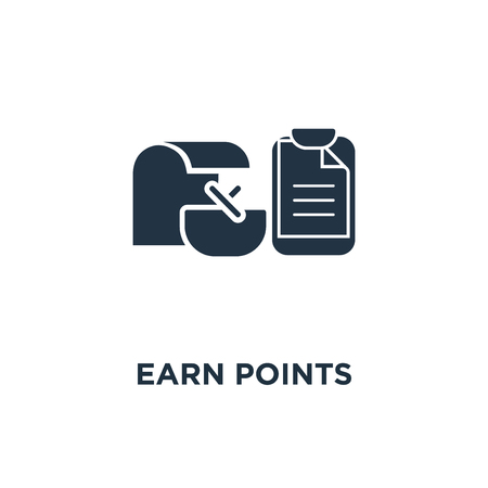 earn points icon. loyalty program concept symbol design, marketing, till slip with shopping basket, thin stroke vector illustration