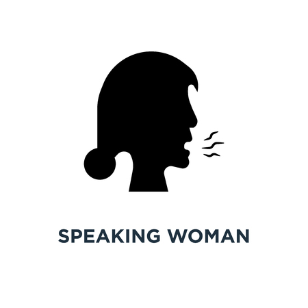 Speaking woman icon. Simple element illustration. Speaking woman concept symbol design, vector logo illustration. Can be used for web and mobile.