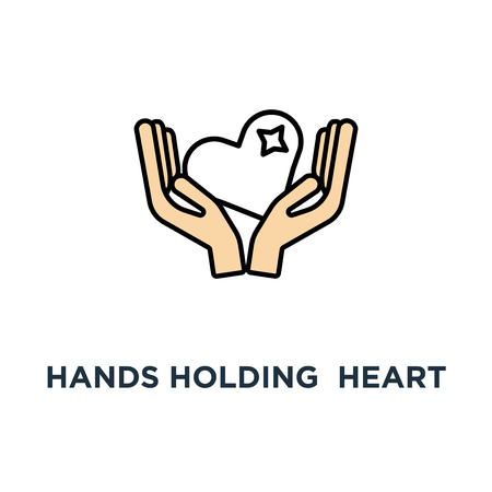 hands holding red heart icon. receive or accept love, philanthropy, volunteering or assistance, modern design, concept symbol design, kindness, care, help, donation or hope, charity vector