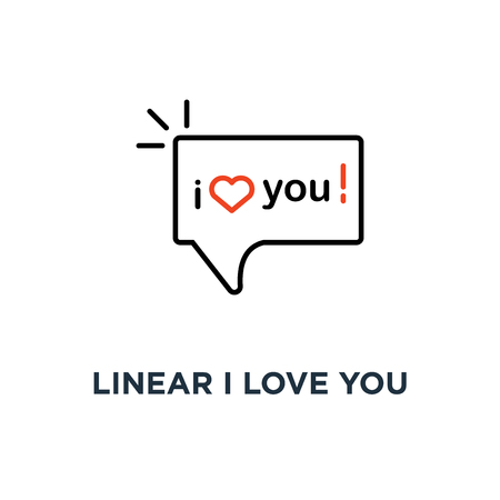linear i love you text in speech bubble icon symbol of lover saying words of