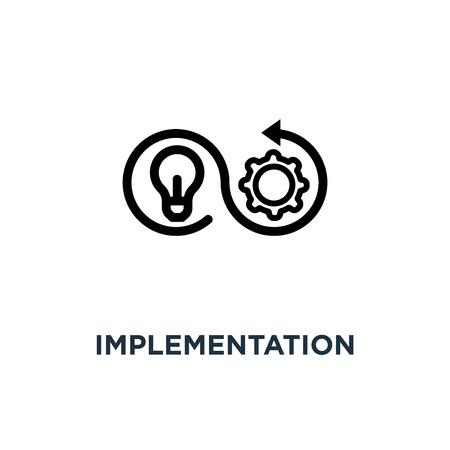 icône de mise en œuvre. conception de symbole de concept de mise en œuvre, illustration vectorielle