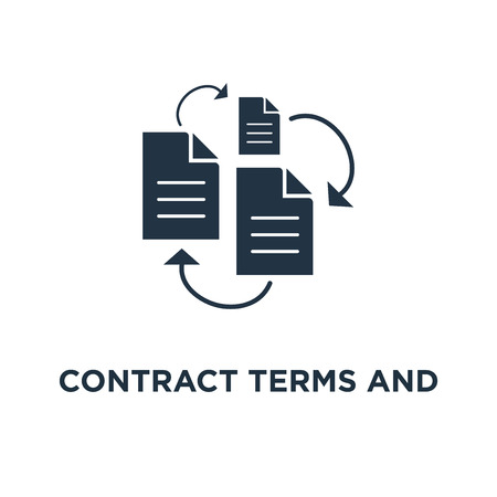 contract terms and conditions icon. document paper, thin stroke concept symbol design, creative writing, storytelling, read brief summary, assignment vector illustration