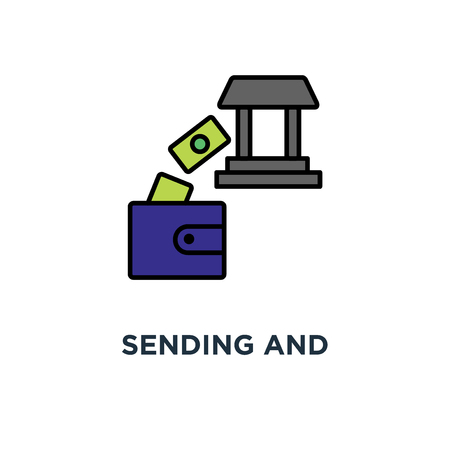 sending and receiving money icon. payments concept symbol design, transfer, deposit, banking, money bills fly from a happy purse (wallet) to the bank building, successful transaction, premium  イラスト・ベクター素材