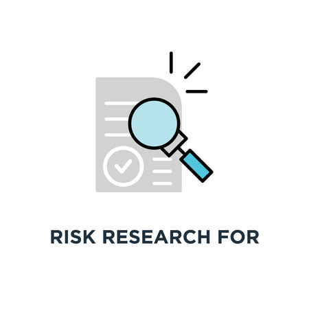 risk research for audit control icon, symbol of fraud quest by auditor and contract review by consultant concept simple cartoon trend modern assess logotype graphic art design on white