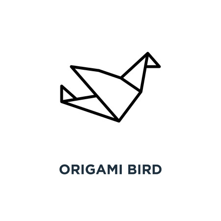 Origami bird icon. Linear simple element illustration. Bird paper concept outline symbol design, vector logo illustration. Can be used for web and mobile. Ilustracja
