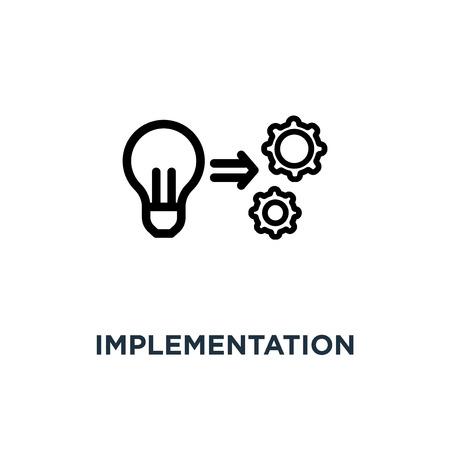 icône de mise en œuvre. conception de symbole de concept de mise en œuvre, illustration vectorielle Vecteurs