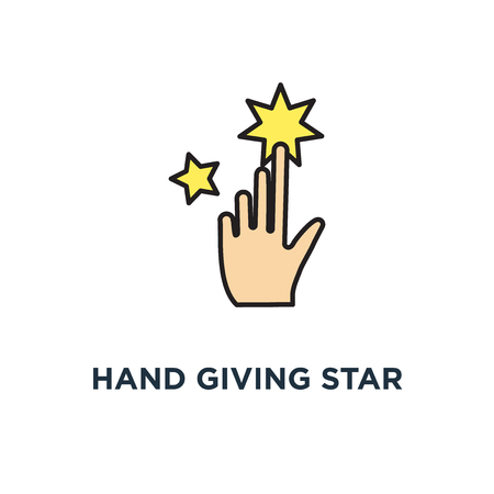 hand giving star rating, feedback icon. consumer or customer rating concept symbol design, review, evaluation, satisfaction level, critic, outline modern, vector illustration Banque d'images - 108988193