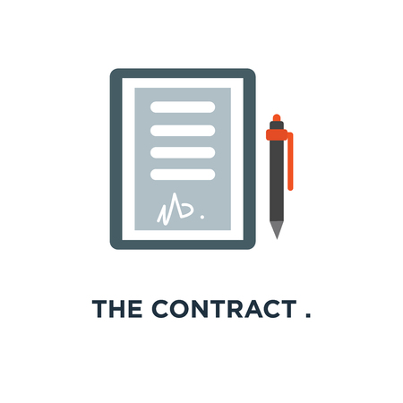 the contract . agreement and signature icon. pact concept symbol design, accord, convention . flat vector illustration Illustration