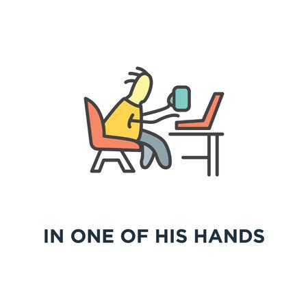 dans l'une de ses mains se trouve une tasse avec du café, une icône indépendante, un personnage amusant mignon assis sur le fauteuil et discutant via un ordinateur portable, un design moderne au contour blanc, un travail confortable à domicile