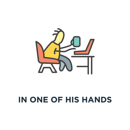 in one of his hands is a mug with coffee, freelance icon, cute fun character sitting on the armchair and chatting via laptop, white outline modern design,, comfortable work from home Иллюстрация