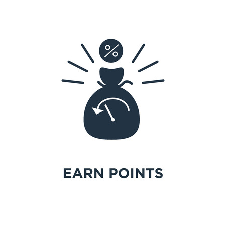 earn points icon. loyalty program, long term investment, income growth, loan payment concept symbol design, charity donation, pension savings, fund raising, money bag vector illustration