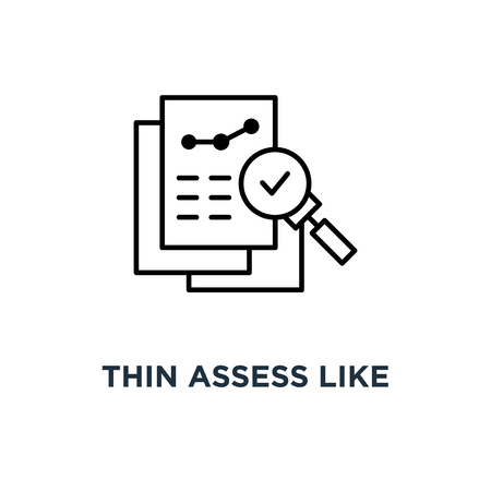 thin assess like review audit risk icon, symbol of find internal vulnerable bill or data research and survey concept linear trend quality logotype graphic art design
