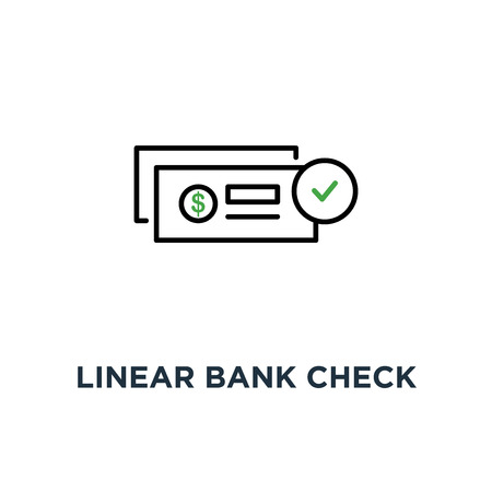 linear bank check like payment icon, symbol of abstract banking checkbook template or chequebook and financial transfers concept contour style trend logotype graphic design Ilustrace
