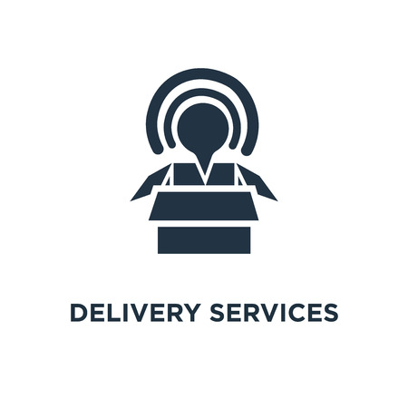 delivery services icon. opened box concept symbol design, logistics and transportation, relocation, cargo shipment, distribution mono vector illustration