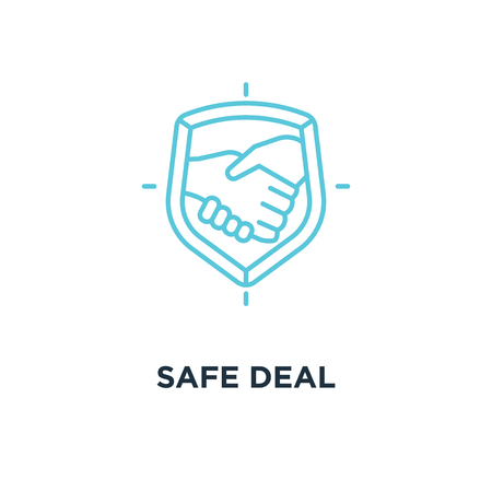 safe deal icon. trust concept symbol design, partnership with handshake vector illustration