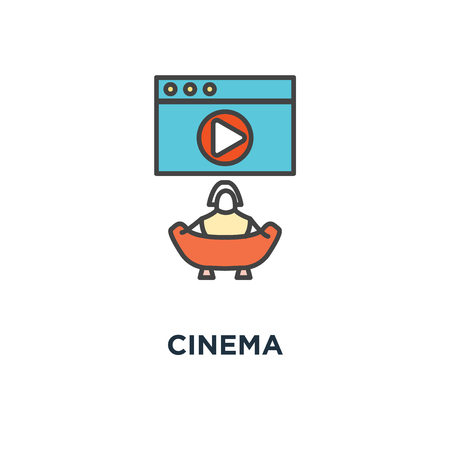 cinema icon, symbol of film or clip on the big screen with play button and eating popcorn, outline modern, concept cute cartoon character sitting and watching movie