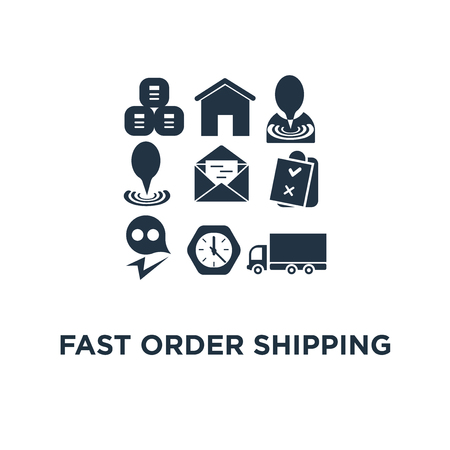 fast order shipping icon. send parcel, pallet with boxes, truck load, logistics service concept symbol design, collect package, warehouse and distribution, supply chain, cargo insurance vector illustration