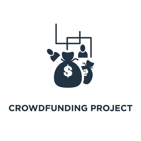 crowdfunding project icon. fundraising campaign concept symbol design, money donation, charity fund, money bags, income growth vector illustration