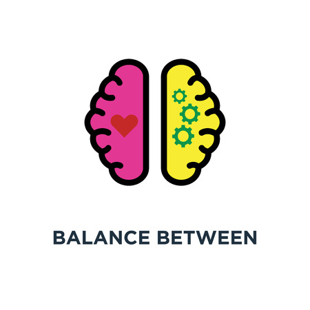 balance between logic and emotion icon. balance between logic and emotion concept symbol design, vector illustration