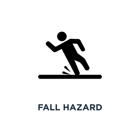 Fall hazard icon. Simple element illustration. Fall hazard concept symbol design, vector logo illustration. Can be used for web and mobile.