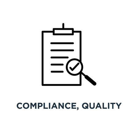 compliance, quality check line sign icon. eps10 concept symbol design, vector illustration