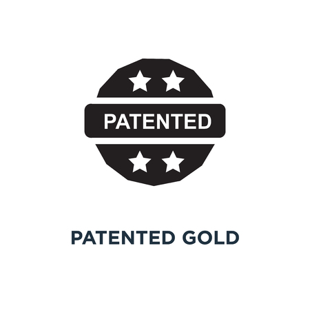 Patented gold icon. Simple element illustration. Patented gold concept symbol design, vector logo illustration. Can be used for web and mobile.