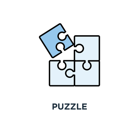 puzzle icon. simple successful solutions, solving problem, outline, concept symbol design, completing, cooperation, compatibility, assemble puzzle pieces vector illustration