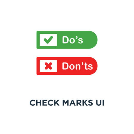 check marks ui button with dos and donts icon, symbol of poor or good test result or performance review concept simple style trend modern red and green checkmark logotype graphic design on white