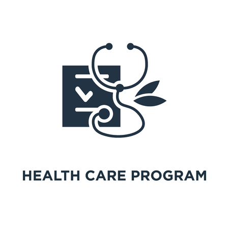 health care program icon. medical services concept symbol design, annual check up, preventive examination, stethoscope vector illustration