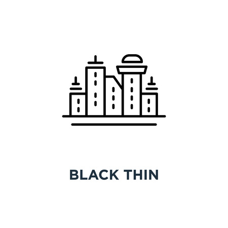 black thin cityscape with skyscrapers icon, symbol of city scape like singapore or new york concept linear stroke simple style modern contour graphic minimal lineart design