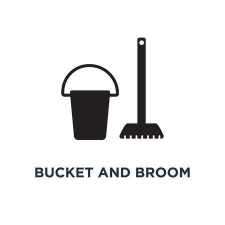 Bucket and broom cleaning icon. Simple element illustration. Bucket and broom cleaning concept symbol design, vector logo illustration. Can be used for web and mobile. Stock Vector - 108988974